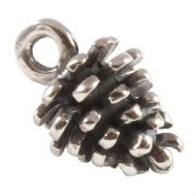 Pine Cone 3D Sterling Silver Charm